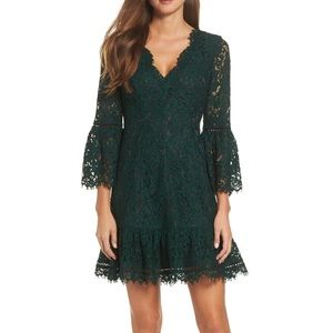 Aster The Label Bell Sleeve Lace Cocktail Dress